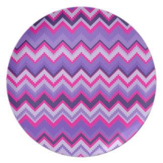 Bold Purple Pink Tribal Chevron Zig Zags Party Plate
