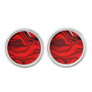 Bold Red and Black Abstract Design Cufflinks