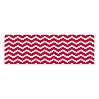 Bold Red and White Chevron Zigzag Pattern Mini Business Card