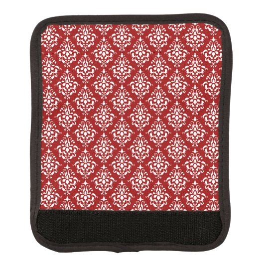 BOLD RED AND WHITE DAMASK PATTERN 1 LUGGAGE HANDLE WRAP