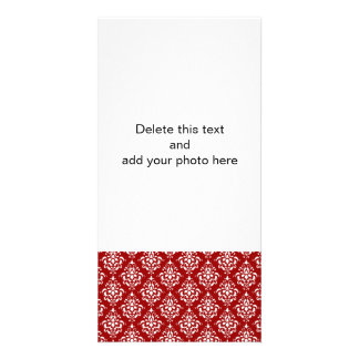 BOLD RED AND WHITE DAMASK PATTERN 1 PICTURE CARD