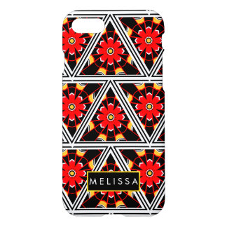 Bold Red Black and Gold Medieval Flowers iPhone 7 Case