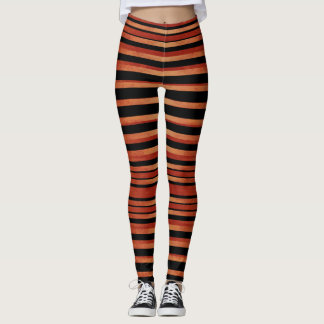 Bold Red & Black Striped Pattern Leggings