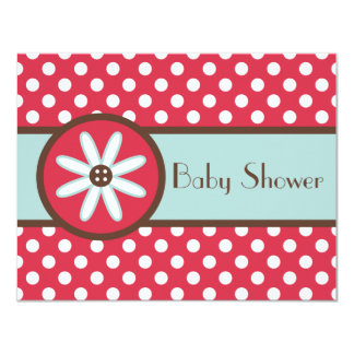 Bold Red Button Flower Baby Shower Invitations