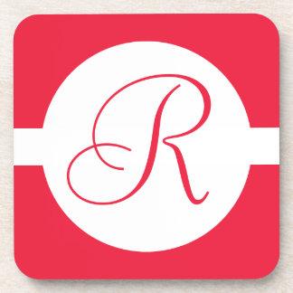 Bold Red Circle Monogram Coaster