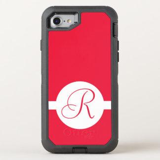 Bold Red Circle Monogram OtterBox Defender iPhone 8/7 Case