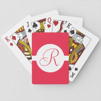 Bold Red Circle Monogram Playing Cards