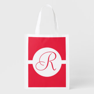 Bold Red Circle Monogram Reusable Grocery Bag