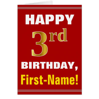 Bold, Red, Faux Gold 3rd Birthday w/ Name Card