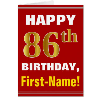 Bold, Red, Faux Gold 86th Birthday w/ Name Card