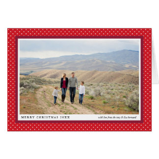 Bold Red Frame Preppy Folded Photo Holiday Card