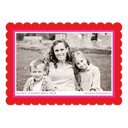 Bold Red Frame Valentine's Day Flat Photo Card