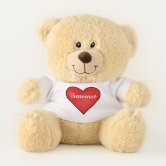Bold red heart - Bienvenue Teddy Bear