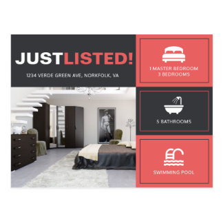 Bold Red Just Listed house real estate advert Postcard
