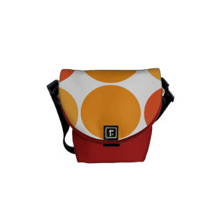 Bold Red Orange Big Polka Dots Circles Pattern Courier Bag