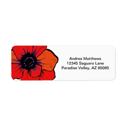 Bold Red Orange Poppies Return Address Label