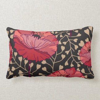 Bold Red Poppy Floral Flower Print Lumbar Pillow