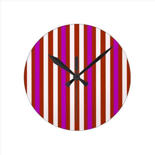 Bold Red Purple Round Clock
