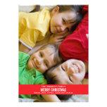 Bold Red Ribbon Christmas Card Custom Invites