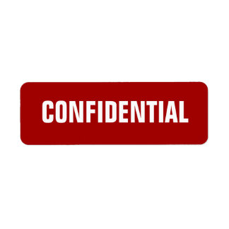 Bold Red Small Confidential Stickers