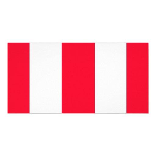 Bold Red Stripes Custom Photo Card