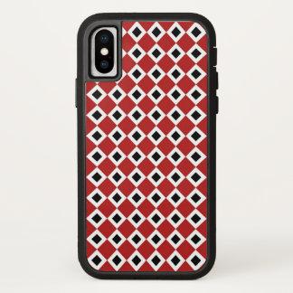 Bold Red, White, Black Diamond Pattern iPhone X Case