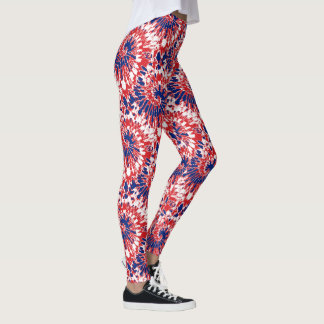 Bold Red White Blue Firework Tie-Dye Pattern Leggings