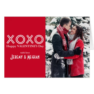 Bold Red XOXO Photo Valentine's Day Card