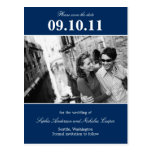 Bold Reminder Save The Date Postcard (Navy) Postcard