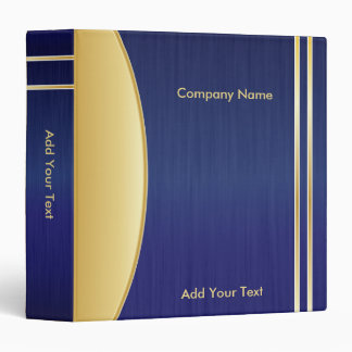 Bold Rich Blue and Gold Company Design Vinyl Binders