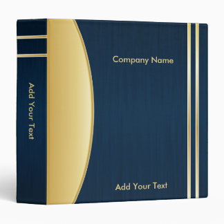 Bold Rich Darkest Blue and Gold Company Design Vinyl Binder