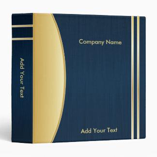Bold Rich Darkest Blue and Gold Company Design Vinyl Binder