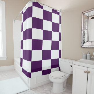 Bold Royal Purple and White Checkered Rectangles