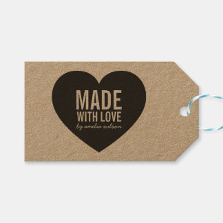Bold Rustic Made with Love Heart Kraft Gift Tags