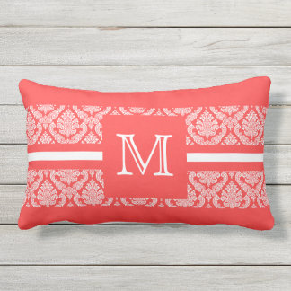 Bold Salmon and White Damask with Monogram Outdoor Pillow