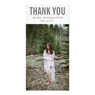 Bold Simple Graduate Thank You Typography Custom Photo Card