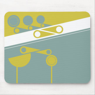 bold simple graphic 2 birds and shapes mouse pad