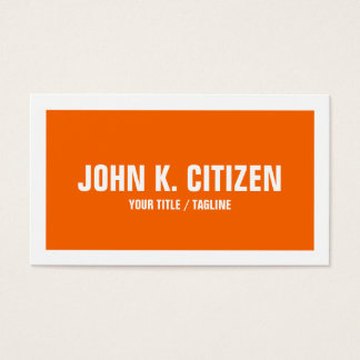 Bold Simple Orange and White Border Business Card