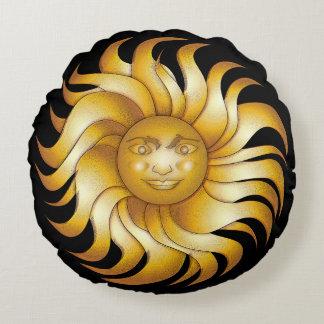 Bold Smiling Sun on Black #1 Round Pillow