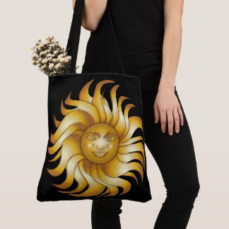 Bold Smiling Sun on Black #1 Tote Bag