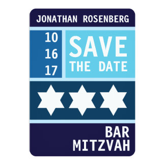 Bold Star of David Bar Mitzvah Save the Date Card