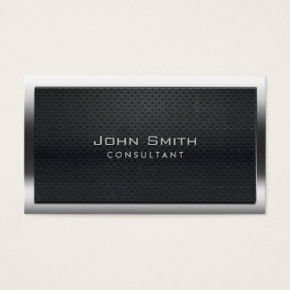 Bold Steel Border Dark Metal Consultant Business Card
