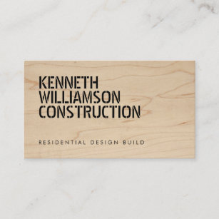 Wood carpenter builder business cards profile cards zazzle ca bold stenciled wood construction business card reheart Image collections