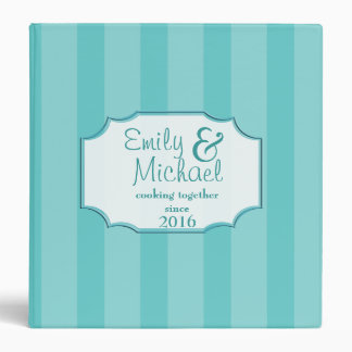 Bold Stripe Pattern Aqua Recipe Binder