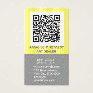 Bold Stripe QR Code Tech Business Card