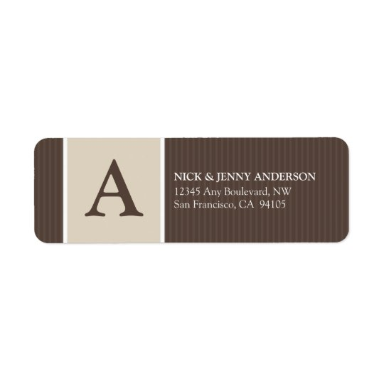 Bold Stripe Return Address Label (chocolate/taupe)