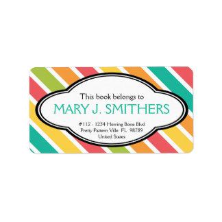 Bold Stripes Colourful Ladies Bookplate