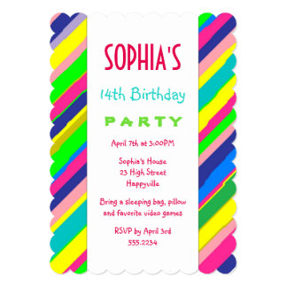 Bold Stripes Fun Teen Girl's Birthday Party Card