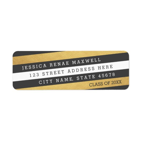 Bold Stripes Graduation Return Address Labels
