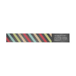 Bold Stripes Holiday Return Address Label Wraparound Return Address Label